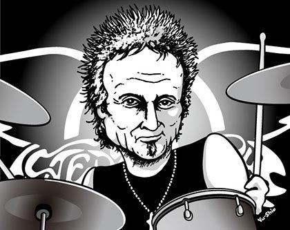 Joey Kramer Aerosmith caricature likeness