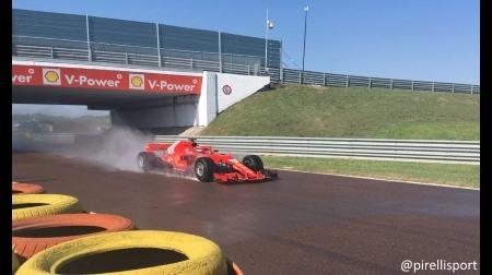 フェラーリがピレリF1ウェットタイヤ開発テスト@フィオラノ