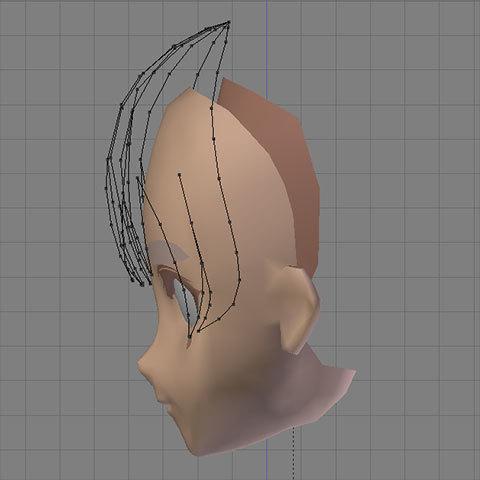 辺で出来た前髪:側面