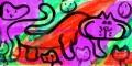 ネコ迷画カラフルで陽気な猫n (2)