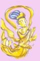 弥勒如来の光背の飛天 (2)