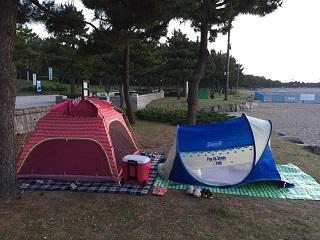 海の公園テント