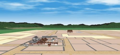 京都盆地と公家町(南から)