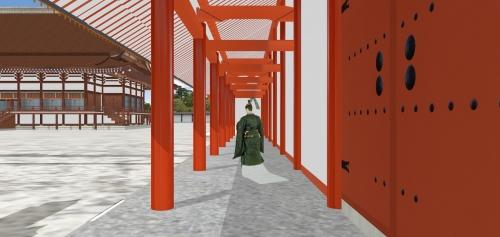 紫宸殿回廊と公家(影あり)