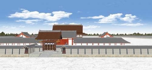 雁行する建礼門と承明門と紫宸殿