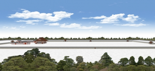 京都御所の全体を東から望む
