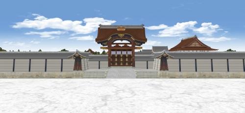 建春門と築地塀_紫宸殿を望む