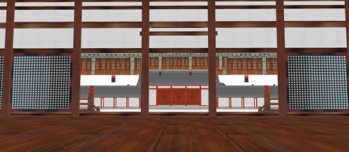 紫宸殿から承明門を見下ろす