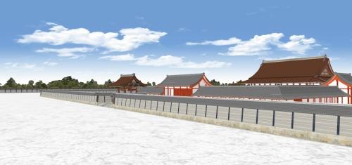 南東から望む建礼門と承明門と紫宸殿