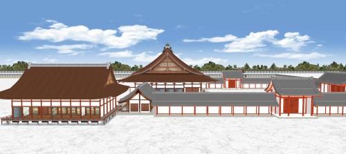 左から清涼殿と土渡廊と月華門