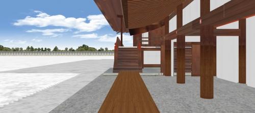 土渡り廊と紫宸殿階段を見る