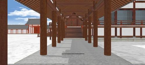 東軒廊と亀卜石