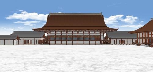 紫宸殿北から左右全景を見る