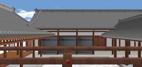 紫宸殿東廂高欄からから宣陽殿と陣座を見る