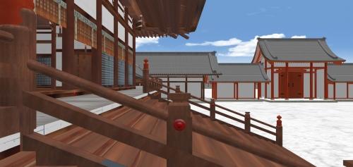 紫宸殿木段から東を見る