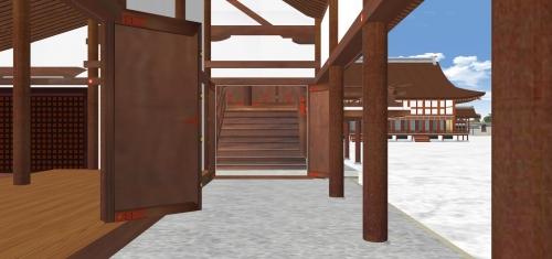 陣座土間から紫宸殿東廂木段を見る