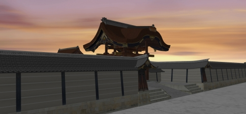 夕焼けの建春門