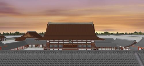 夕暮れ時の御所と紫宸殿を見る
