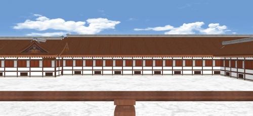 紫宸殿から御拝道廊を見る-2