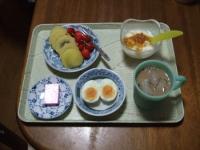 7/4 朝食 キウイ、さくらんぼ、ゆでたまご、豆乳ヨーグルト+甘夏ジャム、鉄チーズ アイスカフェオレ
