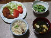 7/4 夕食 ささみカツ、小松菜とあさりの煮びたし、しめじとツナ缶の炊き込みご飯、豆腐とわかめの味噌汁
