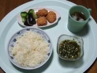 7/6 昼食 鶏のから揚げ、揚げナス、ブロッコリー、そうめん、麦茶