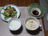 7/7 夕食 豚と小松菜の玉子炒め、刺身こんにゃく、あさりのチャウダー、ごはん