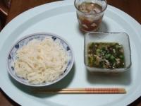 7/8 昼食 そうめん、鯖缶つけ汁、麦茶