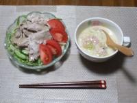 7/8. 夕食 豚しゃぶサラダ、あさりのチャウダー