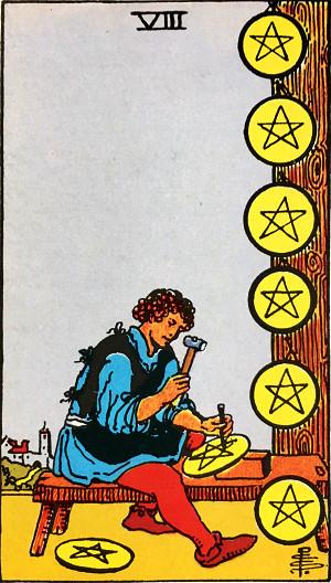タロットカード『ペンタクル8』 by占いとか魔術とか所蔵画像