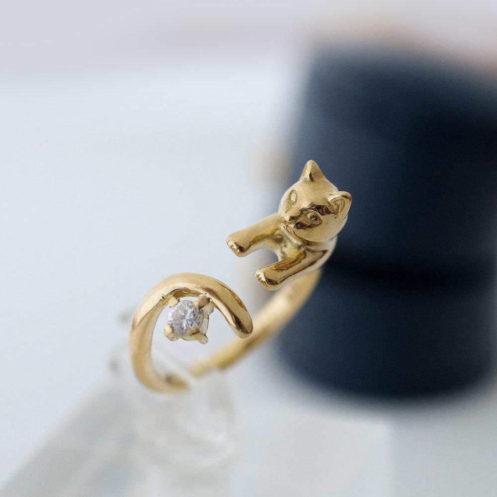 NEW★ダイヤモンド18金の猫リング