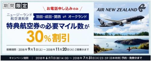 ANA ニュージーランド航空運航便で特典航空券の予約・発券をすると、マイル数が通常より一律30OFF