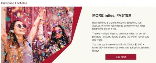 アビアンカ航空 LifeMilesでマイル購入で125%ボーナスマイルのフラッシュセール
