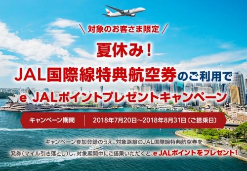 JAL国際線特典航空券の利用でe JALポイントプレゼントキャンペーン
