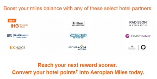 エアカナダのエアロプラン ホテルからのポイント移行で30%のコンバージョンボーナスマイルキャンペーン