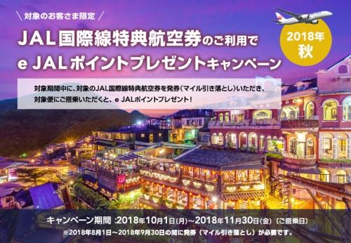 JAL 2018年秋 JAL国際線特典航空券利用でe JALポイントプレゼントキャンペーン
