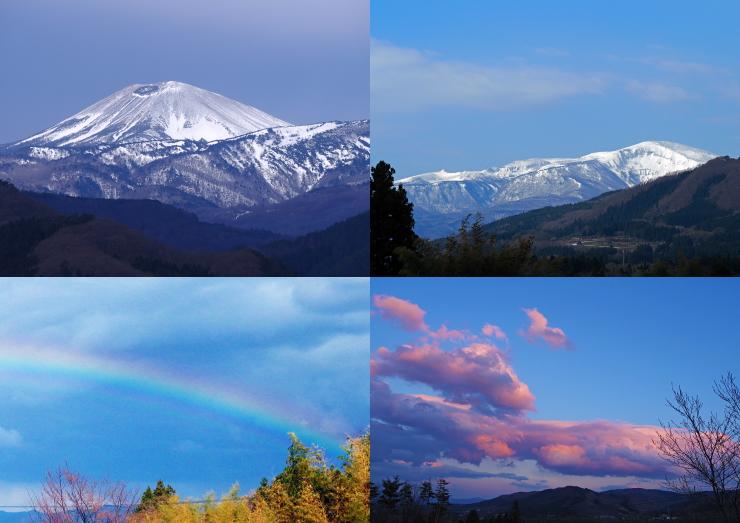 小富士、安達太良、虹、夕景