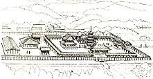飛鳥寺復元図西面
