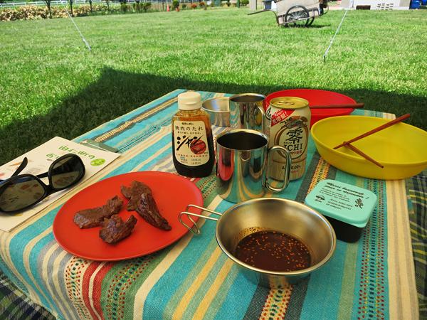 古山貯水池自然公園オートキャンプ場 焼肉とノンアルビール