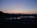 180804嵐山渡月橋から夜明けの東の空