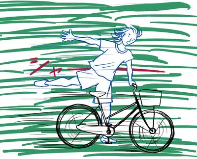 涼しく自転車に爽やかに乗る2