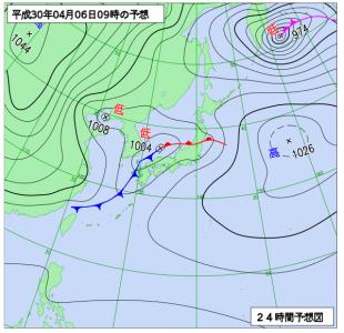4月6日(金)9時の予想天気図