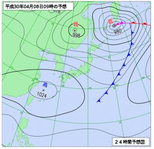 4月8日(日)9時の予想天気図
