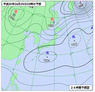 4月9日(月)9時の予想天気図