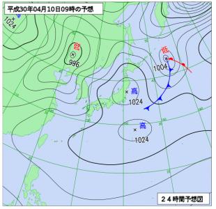 4月10日(火)9時の予想天気図