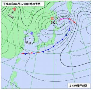 4月12日(木)9時の予想天気図