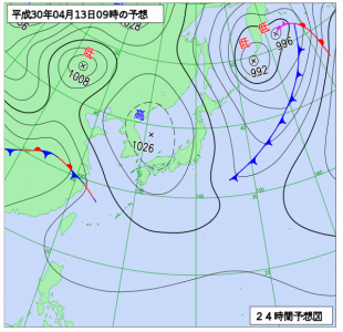 4月13日(金)9時の予想天気図
