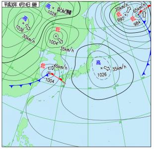 4月14日(土)6時の実況天気図