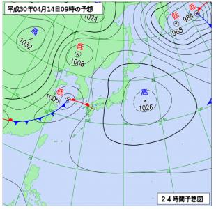 4月14日(土)9時の予想天気図