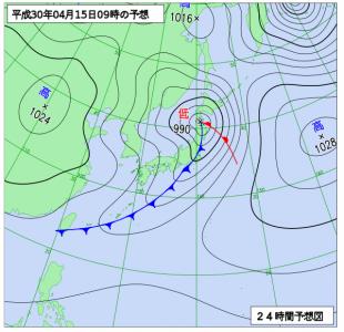4月15日(日)9時の予想天気図